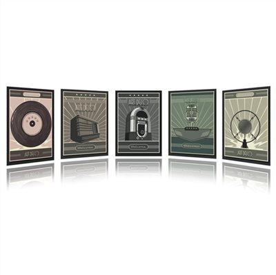 Collection Art Déco Music 5 Panneaux